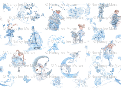 Blue on White Toile de Jouy hand-drawn fairy tales