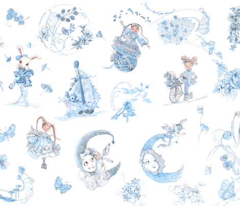 Blue on White Toile de Jouy hand-drawn fairy tales fabric by nancy_lee_moran_designs on Spoonflower - custom fabric
