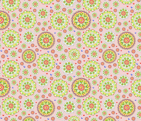 Kristofers Mandala random allover pink ground fabric by patriciasheadesigns on Spoonflower - custom fabric