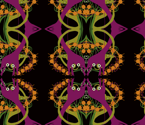 Double headed alien lilies fabric wendymo spoonflower for Alien fabric