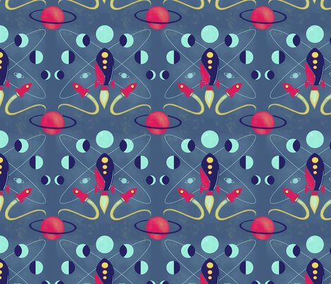 Cosmic voyage damask fabric carabaradesigns spoonflower for Cosmic print fabric