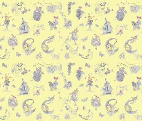 Miniature Blue on Buttercream Toile hand-drawn fairy tales fabric by nancy_lee_moran_designs on Spoonflower - custom fabric