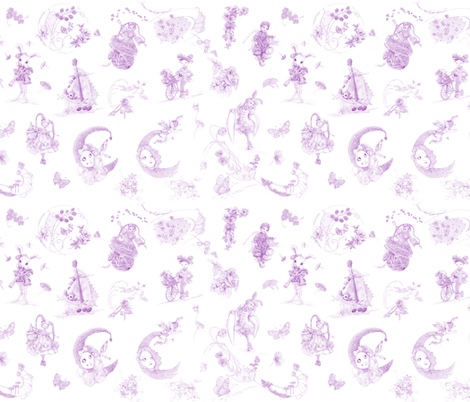 Miniature Lavender on White Toile hand-drawn fairy tales fabric by nancy_lee_moran_designs on Spoonflower - custom fabric
