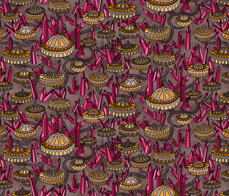 Cities of the Crystal Planet  fabric by pond_ripple on Spoonflower - custom fabric