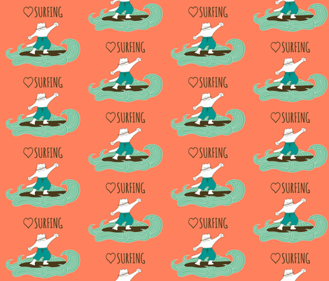 Love Surfing fabric by alenkas on Spoonflower - custom fabric