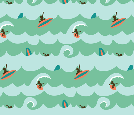 Surfing fabric by amakinglife on Spoonflower - custom fabric