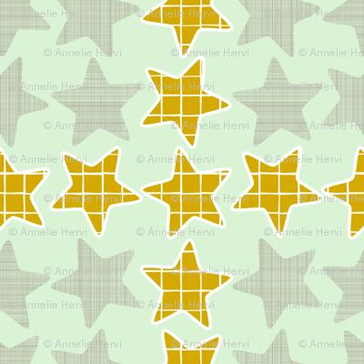 Mint Gold Checker Stars