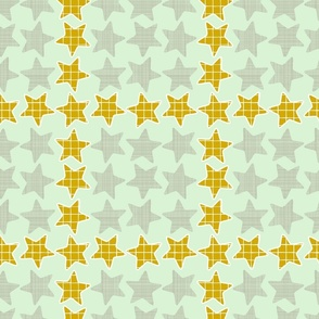 Mint Gold Checker Stars