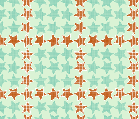 Mint Checker Stars fabric by mrshervi on Spoonflower - custom fabric