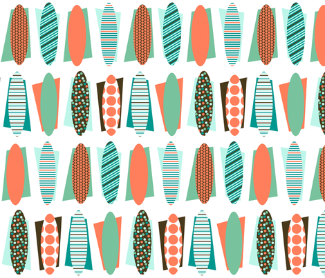 Towel surfing (limited palette) by Su_G fabric by su_g on Spoonflower - custom fabric