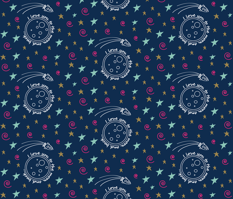 To the moon and back navy fabric beknitpicky spoonflower for Moon print fabric