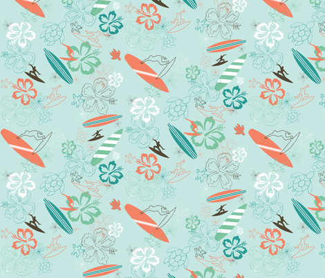 Surfs Up Blue fabric by pamela_hamilton on Spoonflower - custom fabric