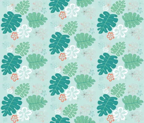 Hawaiian Holiday Blue fabric by pamela_hamilton on Spoonflower - custom fabric
