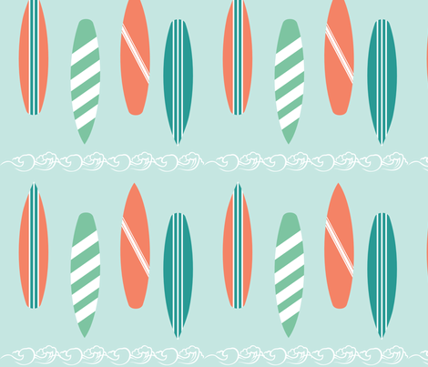 Surf Line Blue fabric by pamela_hamilton on Spoonflower - custom fabric