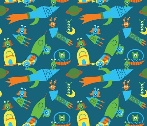Space adventure fabric honeyinthewild spoonflower for Spaceman fabric