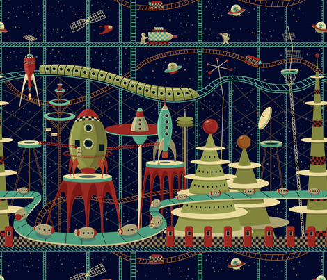 Fantastic Intergalactic Launch Station fabric by anna_ducos on Spoonflower - custom fabric