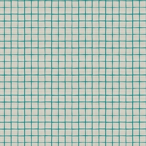 Teal Grid Linen Towel