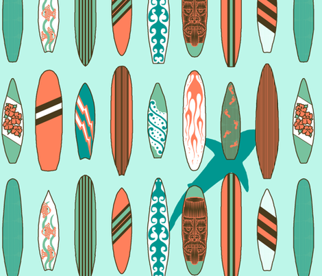 Surfing with sharks? NO! fabric by victorialasher on Spoonflower - custom fabric