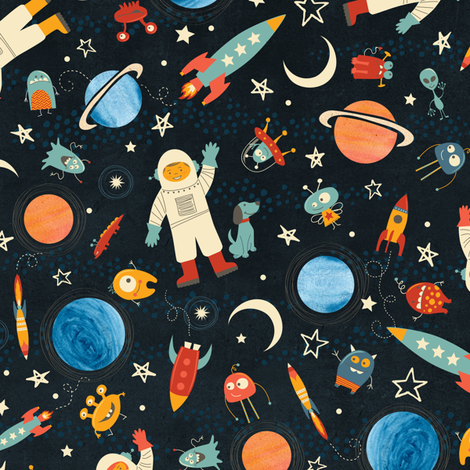 Space… A Friendly Place! fabric by jennartdesigns on Spoonflower - custom fabric