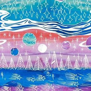 Cosmic Watercolor Landscape