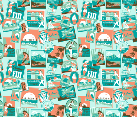 Retro Surf Badges fabric by k80horn on Spoonflower - custom fabric
