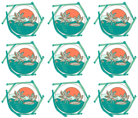 Surfing Santa Cruz fabric by kimruss@thatcatart on Spoonflower - custom fabric