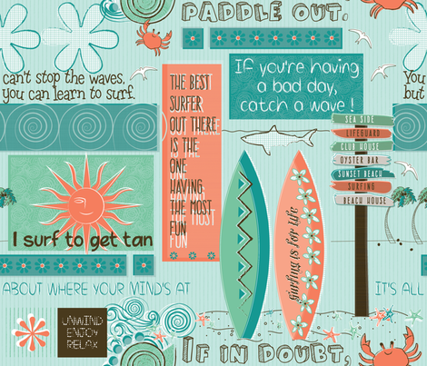 surfer's philosophy fabric by liluna on Spoonflower - custom fabric