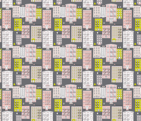 Bright yellow and pink pastel New York City patern fabric by littlesmilemakers on Spoonflower - custom fabric