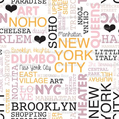 New York City pastel lovers typography pattern