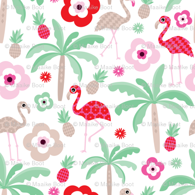 Hot Summer Flamingo Pineapple Palm Tree Pattern Fabric