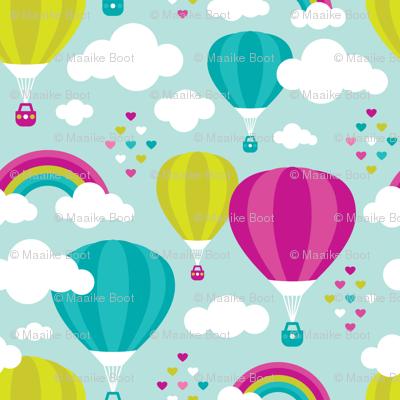 Hot air balloon and rainbows pattern