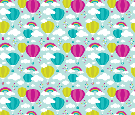 Hot air balloon and rainbows pattern fabric by littlesmilemakers on Spoonflower - custom fabric