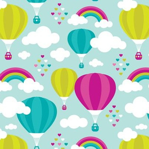 Hot air balloon and rainbows pattern
