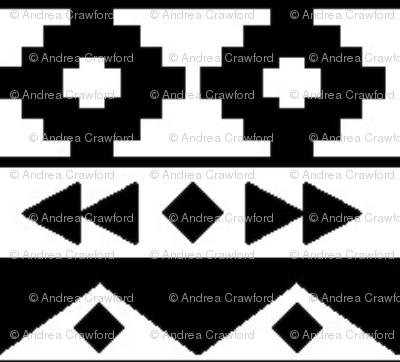 White on black tribal rows