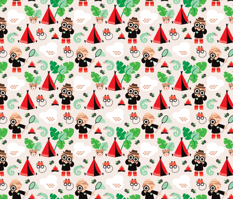 Survival boy jungle adventure boys illustration fabric by littlesmilemakers on Spoonflower - custom fabric