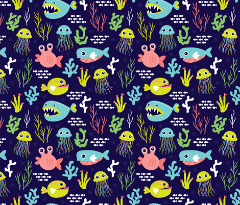 Deep water jelly fish and quirky sea life fabric by littlesmilemakers on Spoonflower - custom fabric