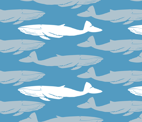 Blue Whale fabric by featherwurm on Spoonflower - custom fabric