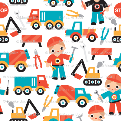 Under construction workers boys illustration fabric