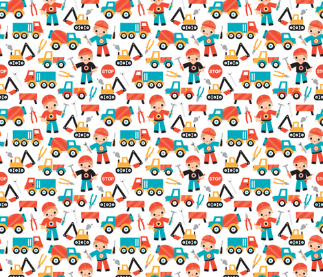 Under construction workers boys illustration fabric fabric by littlesmilemakers on Spoonflower - custom fabric