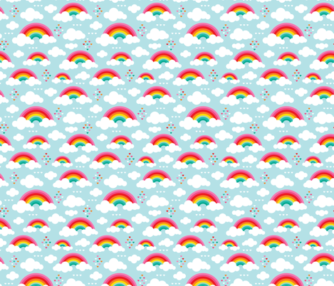 Cloudy blue sky rainbow dreams fabric by littlesmilemakers on Spoonflower - custom fabric