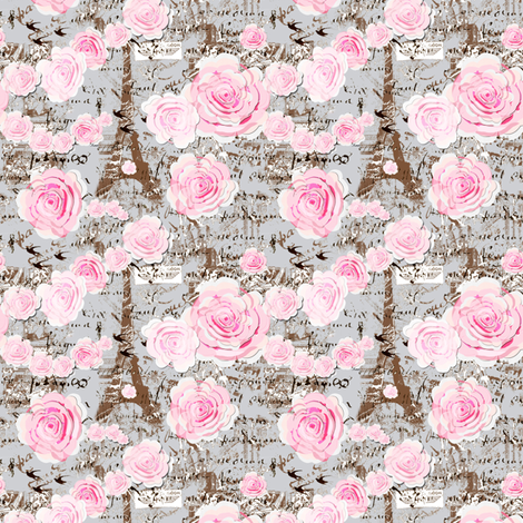 Paris Chic, Rose Garland fabric by karenharveycox on Spoonflower - custom fabric