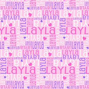 Personalised Name Design - Hearts Pink and Purple