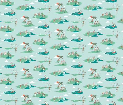 Vintage Surf Kids - Teal fabric by elliewhittaker on Spoonflower - custom fabric