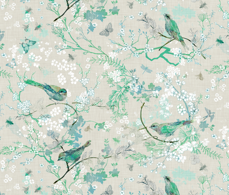 Birds + the Bees  (MINT) MED  fabric by nouveau_bohemian on Spoonflower - custom fabric