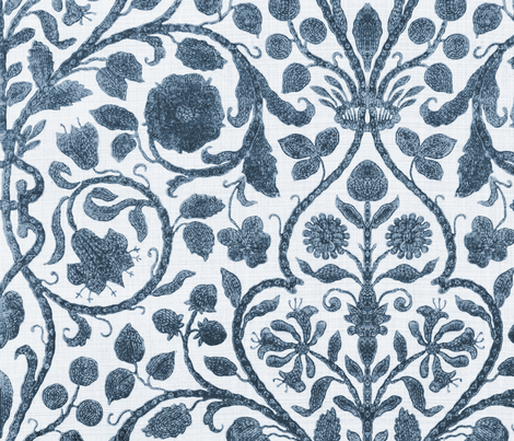 Provence Toile in Blue and White fabric by willowlanetextiles on Spoonflower - custom fabric