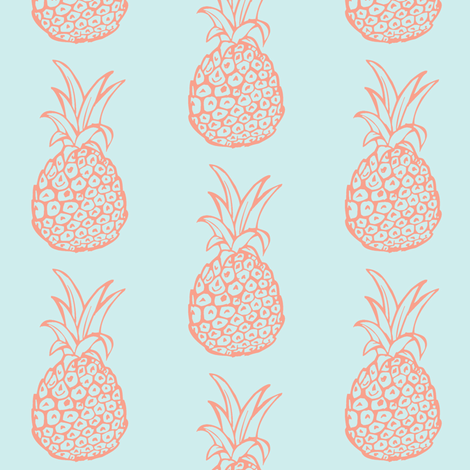 Pineapple Party in Coral and Mint fabric by theartwerks on Spoonflower - custom fabric