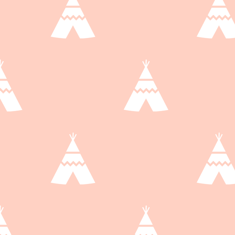 Teepees white on peach fabric by kleababy on Spoonflower - custom fabric