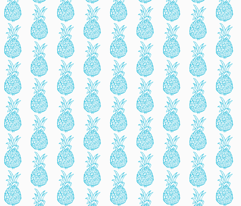 Pineapple Party in Turquoise Blue fabric by theartwerks on Spoonflower - custom fabric