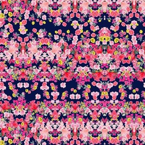 Small Print Hot Pink, Coral, Red, and Yellow Antique Floral on Navy