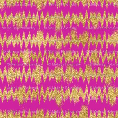 Small Gold Glitter ZigZag Stripes on Fuchsia/ Magenta